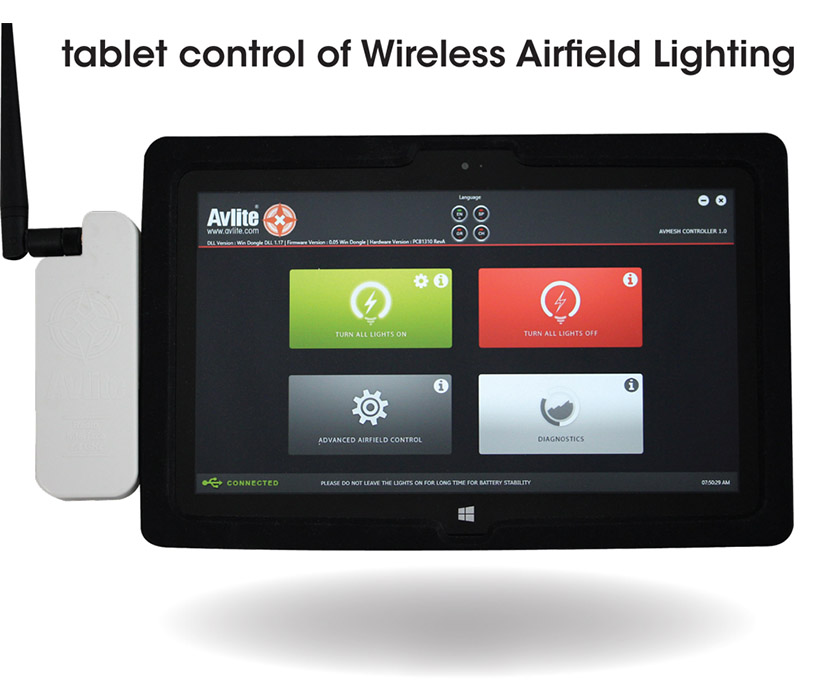 AvMesh USB Device for tablet control of Wireless Airfield Lighting